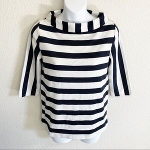9-H15-STCL Anthropologie Striped Boat Neck Top